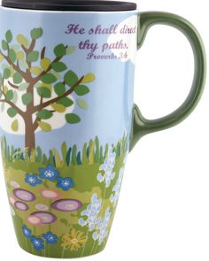 OK - it may not be warm outside, but at least this awesome mug will keep my hands warm. Who is thankful for hot cocoa in tall mugs for that very purpose?  Ceramic Travel Mug w/ Lid & Handle - He Shall Direct Thy Paths (17 oz)