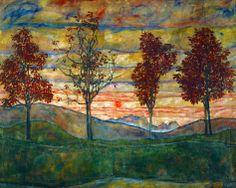 Four Trees, c.1917 Egon Schiele