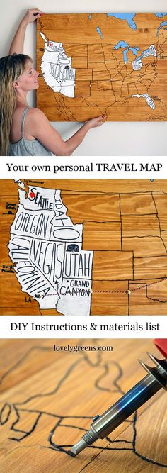 DIY Personalized Travel Map Remember your journeys and adventures with a do-it-yourself Personal Travel Map. Full instructions on how to make this stylish art piece. The post DIY Personalized Travel Map appeared first on Best Ideas For Women. Cute Crafts, Crafts To Do, Map Crafts, Travel Crafts, Creative Crafts, Wood Crafts, Diy Projects To Try, Craft Projects, Wood Projects