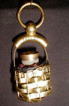 Turn-of-the-Century Woven Metal Basket Thimble Holder