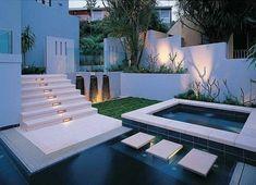 Ideas modern garden design feature water lawn and lighting