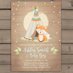 Items similar to Woodland baby shower invitation Boy Baby Shower Invitation Fox Teepee arrow Woodland Tribal baby shower boho pow wow blue PRINTABLE foxt on Etsy Fiesta Baby Shower, Baby Shower Fun, Baby Shower Parties, Baby Shower Themes, Baby Shower Gifts, Fun Baby, Shower Ideas, Girl Shower, Baby Gifts