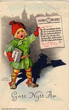 Happy New Year... Antique Postcard. Artist, Jenny Nyström .