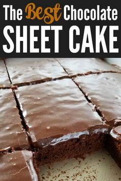 The BEST chocolate Texas sheet cake recipe that's as velvety tender as petit fours and so sinfully addictive you'll call it the devil! Informations About The BEST Chocolate Sheet Cake Pin You can easi Köstliche Desserts, Chocolate Desserts, Delicious Desserts, Dessert Recipes, Yummy Food, Frosting Recipes, Healthy Cake Recipes, Homemade Cake Recipes, Lemon Desserts