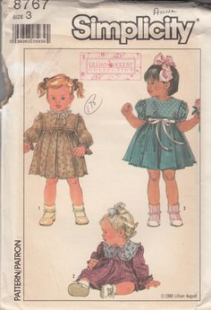 Super Sweet Baby Doll Dress for Toddler Girls -  Short or Long Sleeve - Size 3T - UNCUT - Sewing Pattern Simplicity 8767 by Sutlerssundries on Etsy