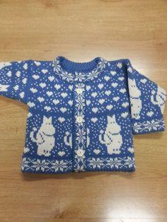 Woolen knitted cardigan for children with moomin pattern Knitting For Kids, Crochet For Kids, Crochet Baby, Knit Crochet, Fair Isle Knitting Patterns, Knitting Designs, Knit Slouchy Hat Pattern, Newborn Knit Hat, Moda Crochet