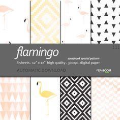 Digital Paper  Flamingo 111   Scrapbook Quality Paper by zaiazoom