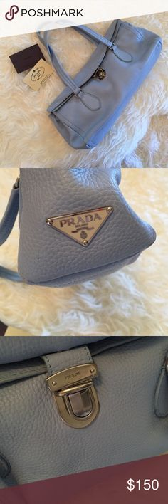 """Prada Bag I bought this second hand, so I am not sure about authenticity.  It looks authentic to me, but I'm no expert.  If you have any insight, please let me know!  Happy to provide more pics.  This bag is in excellent condition.  If it's a replica it's a very good one.  14"""" X 6"""" X 4"""".  Make an offer! Prada Bags Shoulder Bags"""