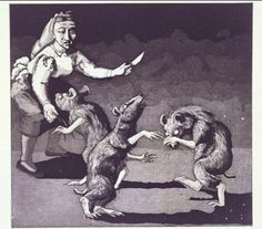 Paula Rego (b. Three Blind Mice (from the Nursery Rhymes series), etching with aquatint, © The Artist. Paula Rego Art, Three Blind Mice, Children's Book Illustration, Illustration Techniques, Gravure, Nursery Rhymes, Figure Painting, Printmaking, Illustrators