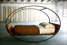 Home Design Ideas and Interior Decorating ~ Vnuks Furniture: The Fascinating Oval Metal Modern Rocking Bed With Brown Coloring Idea And . Rock Bed, Casa Clean, Style Deco, Cool Beds, Awesome Beds, Queen Beds, Rocking Chair, All Modern, Modern Beds