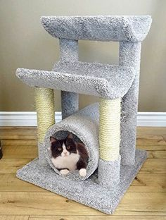 Carpet Kitty Tree Hammock 30 inch Gray Cat Furniture Scratcher Rope Poles * Click image for more details.-It is an affiliate link to Amazon. #CatScratching