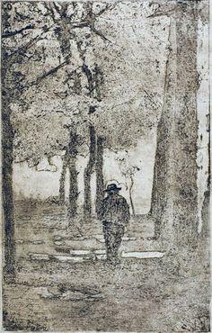 Giovanni Fattori, Viale delle Cascine (con figura) - Acquaforte su zinco - cm. 26x16,5