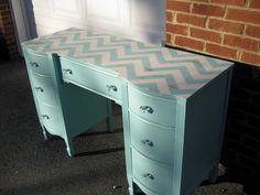 Turquoise Chevron Desk Vanity Bedside Table Foyer/Entry Table Light Distressing. $275.00, via Etsy.