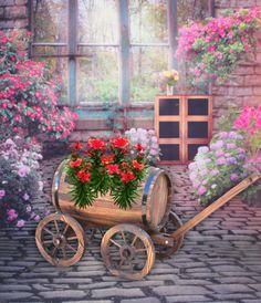 20 Wooden Novelty Barrel Wagon Planter Brown L - Gardenised Wagon Planter, Wheelbarrow Planter, Cedar Planter Box, Corten Steel Planters, Plastic Planter Boxes, Barrel Planter, Window Planter Boxes, Hanging Planters, Fiberglass Planters