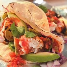 Grilled Adobo-Rubbed Fish Tacos--For the ultimate flavor in fish tacos, this recipe features an adobo rub made with chili powder and cumin. For best results use firm fish like halibut or mahi mahi. Serve with homemade coleslaw. Spicy Recipes, Seafood Recipes, Mexican Food Recipes, Great Recipes, Dinner Recipes, Favorite Recipes, Healthy Recipes, Grilling Recipes, Healthy Meals