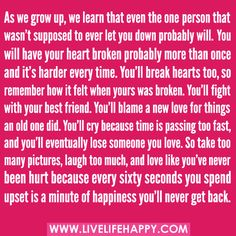 best love quotes :) As we grow up, we learn that...
