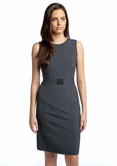 Throw a. Colored blazer over this dress for interest. Calvin Klein Belted Sleeveless Sheath Dress