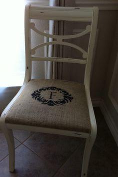 Great Idea.  Burlap seat cover with stencil monogram