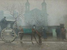 Hanson Cab at All Saints, Manchester, United Kingdom, 1910, by Adolphe Valette.