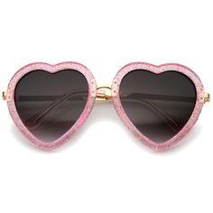 96762d77fdb8 Women s Heart Shaped Transparent Glitter Sunglasses A635