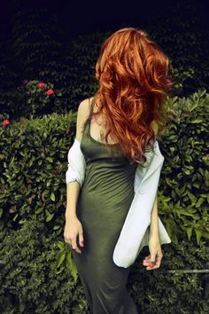 """Fabulous Flaming Red Hair & Moss Green Sheath Dress #fashion #color"""