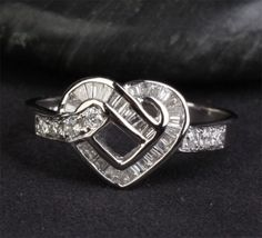 Heart Shaped Baguette Cut .49ctw Diamonds 14K White Gold Wedding Band Ring