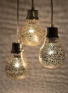 Pierced Metal Hanging Lamps by Zenza