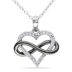 Diamond Sideways Infinity with Heart Pendant in Two-Tone Sterling Silver - Peoples Jewellers CT. Diamond Sideways Infinity with Heart Pendant in Two-Tone Sterling Silver - - Online Exclusives - Peoples Jewellers Infinity Necklace, Heart Pendant Necklace, Infinity Heart, Infinity Pendant, Infinity Rings, Garnet Necklace, Infinity Symbol, Gold Necklace, Cute Jewelry