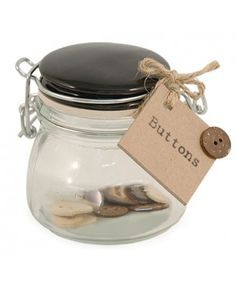 Buttons Jar Your sewing kit has a new addition - store your buttons in this handy little jar from East of India. Made of glass, the jar has a clip and seal lid and contains a handful of cream and brown button Craft Supplies, Place Card Holders, Jar, Buttons, India, Crafty, Gifts, Craft Ideas, House