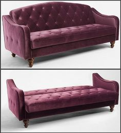 Ava Sleeper Sofa in Plum, Urban Outfitters Apartment. Ava Sleeper Sofa in Plum, Red Velvet Sofa, Velvet Tufted Sofa, Futon Couch, Grey Futon, Black Futon, Futon Mattress, My Living Room, Home And Living, Ideas