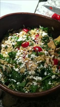 Orzo salad with spinach, tomato, rotisserie chicken, and feta (we added the chicken)