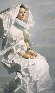 Zeng Chuanxing; Texture can be literal, something you touch and feel, or it can be Visual. Although this woman's garment is just paint, we can see the illusion of texture the painter created.