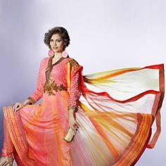 Shaded Peach and Orange Net Anarkali  Churidar Kameez
