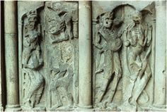 Reliefs on the left wall of porch (lower half of picture), Priory Church of Saint-Pierre, Moissac. France, c. 1115.