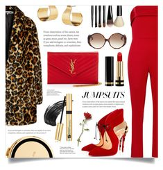 """""""One and Done: Jumpsuits"""" by ames-ym ❤ liked on Polyvore featuring McQ by Alexander McQueen, Mestiza, Yves Saint Laurent, Kate Spade, Christian Louboutin, Estée Lauder, Gucci, Linda Farrow, Bobbi Brown Cosmetics and Keishi Jewellery"""