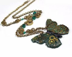 Polymer clay and resin tutorial Steampunk Filigree Butterfly Pendant, with free instructions for EnviroTex Lite or ICE resin, pdf Diy Jewelry Necklace, Resin Jewelry, Jewelery, Beaded Bracelets, Pendant Necklace, Butterfly Necklace, Butterfly Pendant, Resin Tutorial, Clay Tutorials