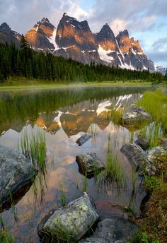 sunrise, Ramparts in Tonquin Valley, Jasper National Park, Alberta, Canada Más Places To See, Places To Travel, Beautiful World, Beautiful Places, Parc National, Parcs, Places Around The World, Landscape Photos, Amazing Nature