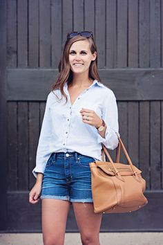 early fall look: denim shorts + button up shirt