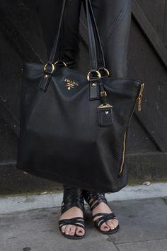 cca639685f8b black leather prada bag Prada Bag