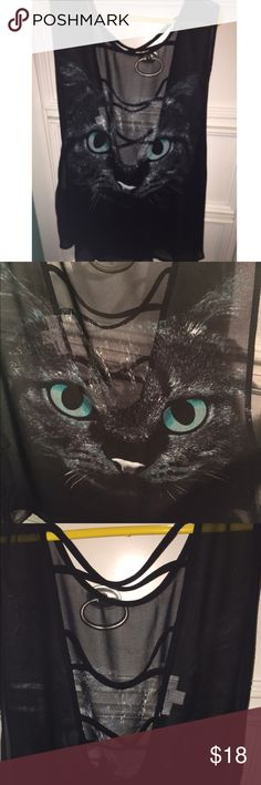 Cat chiffon tank Never worn. A little see through and made out of chiffon material. Lightweight and has a cute grungy cat with bright turquoise eyes on front. Cross crossed back and perfect to wear with a bralette! Garage Tops Tank Tops