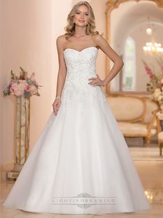 Strapless Sweetheart Embellished Lace Bodice A-line Wedding Dresses - LightIndreaming