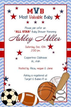 all star sports baby boy shower invitation printable from just, Baby shower invitations