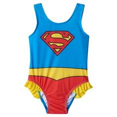 Toddler Girl DC Comics Superman One-Piece Swimsuit