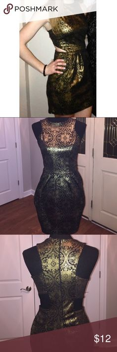 Missguided Metallic Gold and Black Dress Beautiful dress with cut outs. Only worn once for a formal! Missguided Dresses Mini