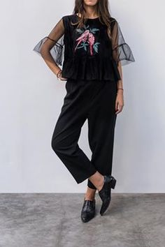 "Blackened.  featuring ""NADINE"" tulle, embroidered top and ""MORRIS"" trousers. #karavan #karavanclothing #karavangirl"