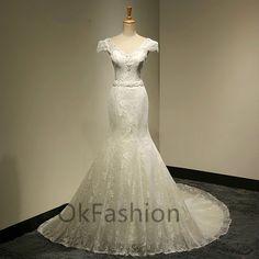 White/Ivory Sexy Cap Shoulder Lace Applique Long Train Wedding Dress Bridal Gown