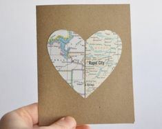 Long Distance Relationship Map Card Heart in Two Places by ekra