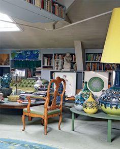 Artist Bjørn Wiinblad's home, Denmark Artist Loft, Royal Academy Of Arts, Scandinavian Design, Interior Inspiration, Living Spaces, Sweet Home, Blue And White, Interior Design, Sofa