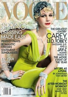 Carey Mulligan, set to star in The Great Gatsby this spring, graces the May cover of Vogue in Oscar de la Renta.