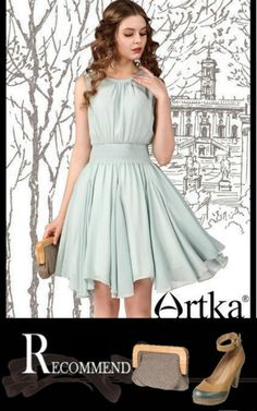 Artka Series Suman / Elegant Embroidered Waist Chiffon Dress LA11048X